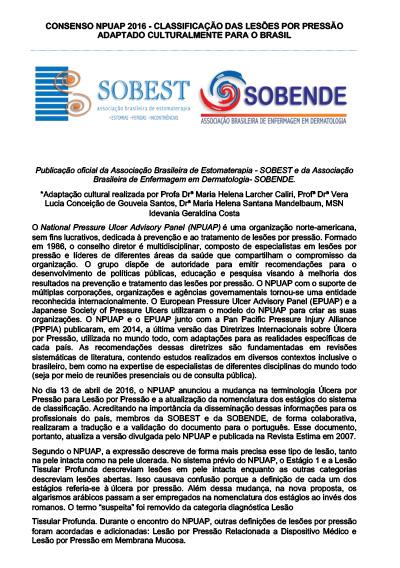 Capa do Livro Classificação das Lesões por Pressão