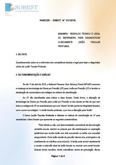 Capa do Livro Parecer SOBEST nº01/2018
