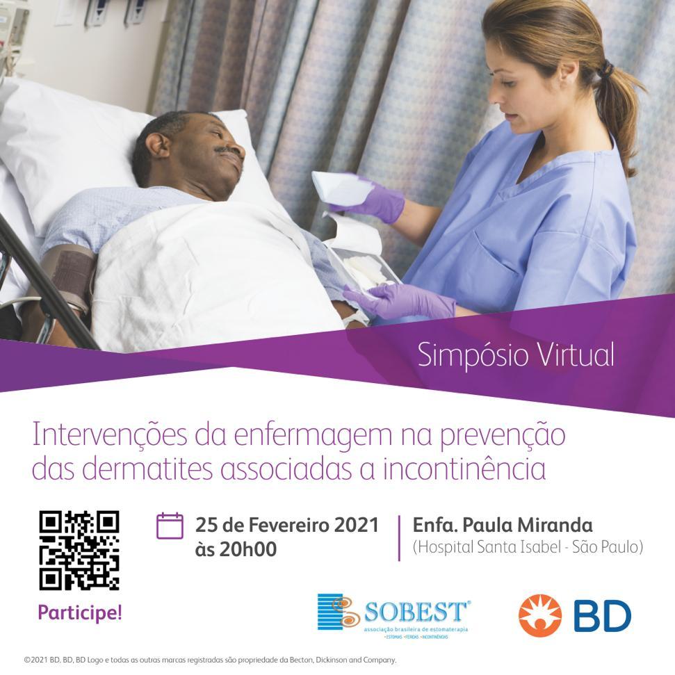 Evento Apoio SOBEST Simpósio Virtual Intervenções da enfermagem na prevenção das dermatites associadas à incontinência