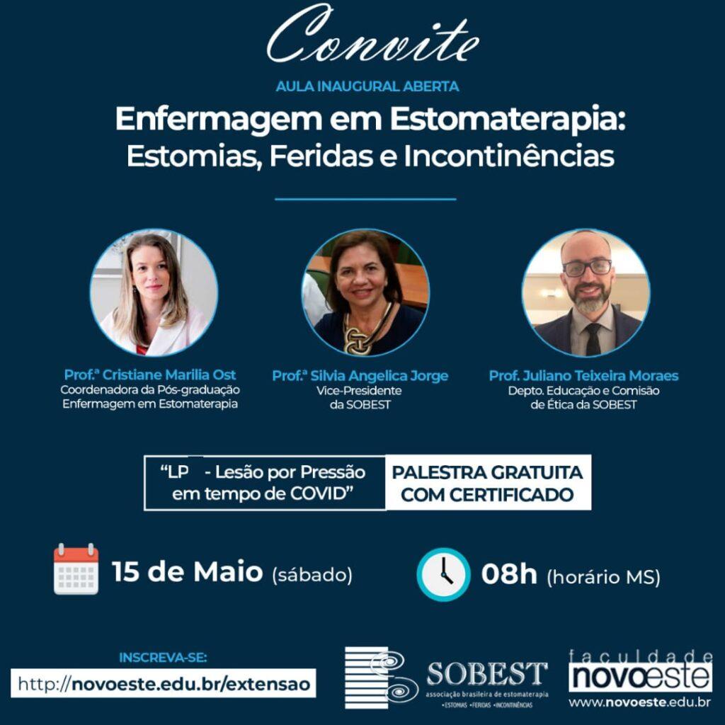 Evento Apoio SOBEST Aula Inaugural Aberta e Gratuita: Enfermagem e Estomaterapia