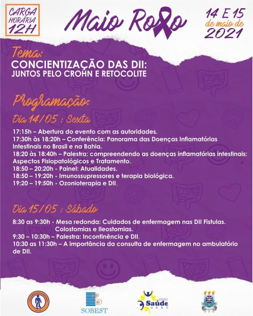 Programação Evento Apoio SOBEST Maio Roxo Conscientização das DII: Juntos pelo Crohn e Retocolite