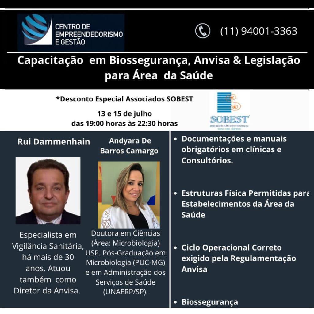 Evento Apoio SOBEST Capacitação em Biossegurança, Anvisa e Legislação para Área da Saúde