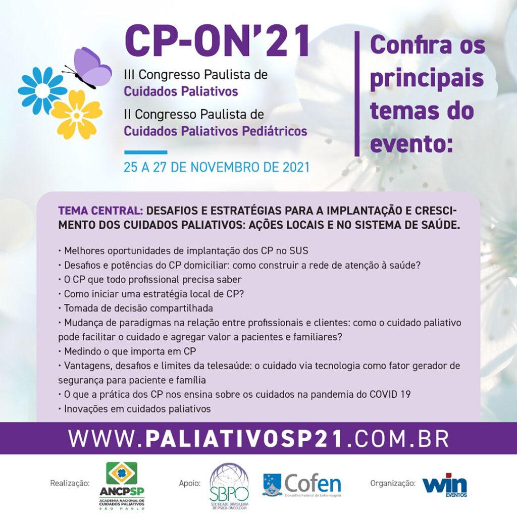 CP ON' 2021 III Congresso Paulista de Cuidados Paliativos e II Congresso Paulista de Cuidados Paliativos Pediátricos